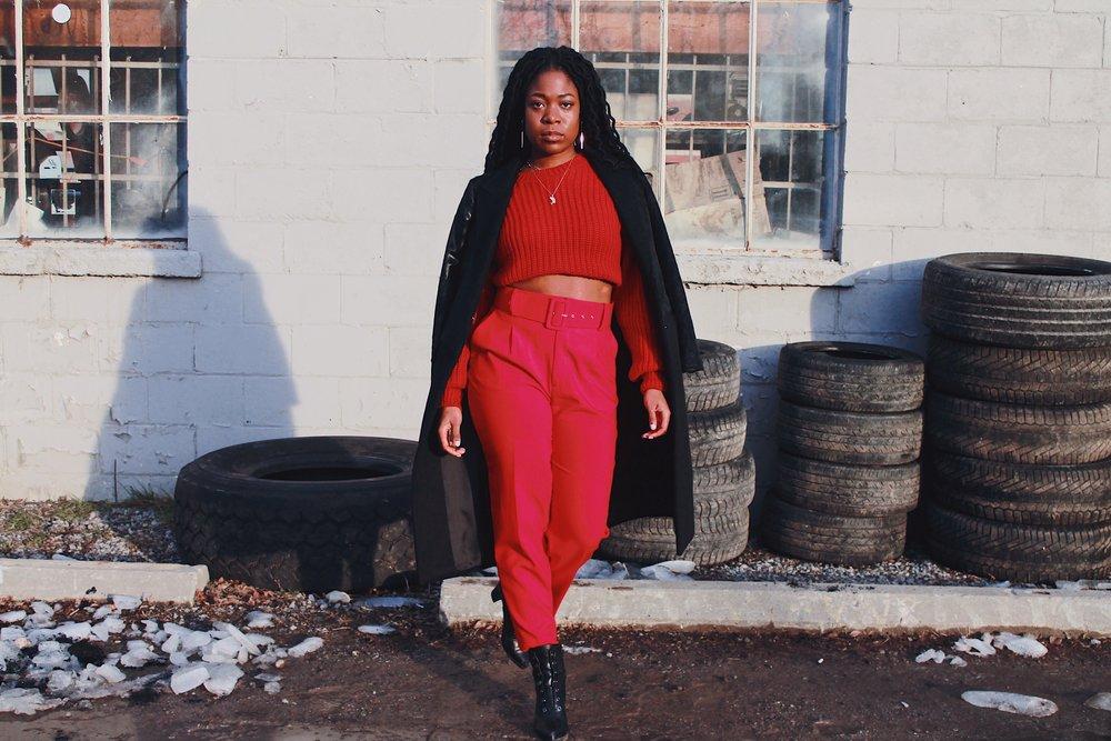 ardene knit sweater // zara trousers // winners boots + coat -