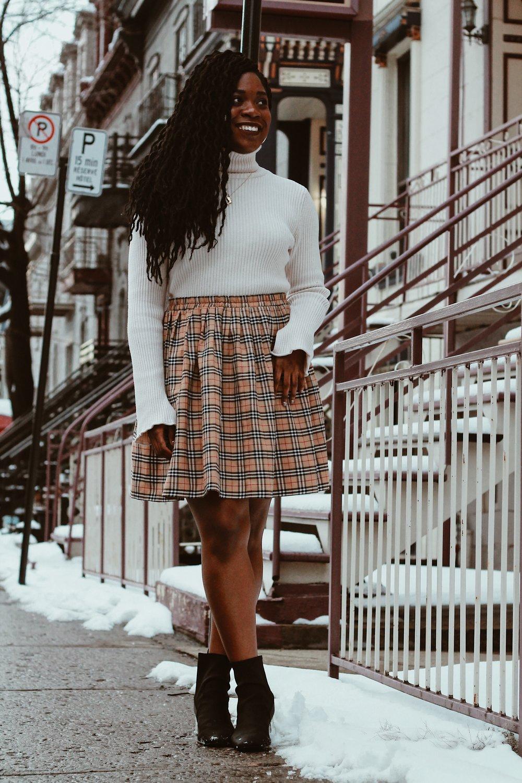 zara turtle neck // vintage skirt // topshop boots -