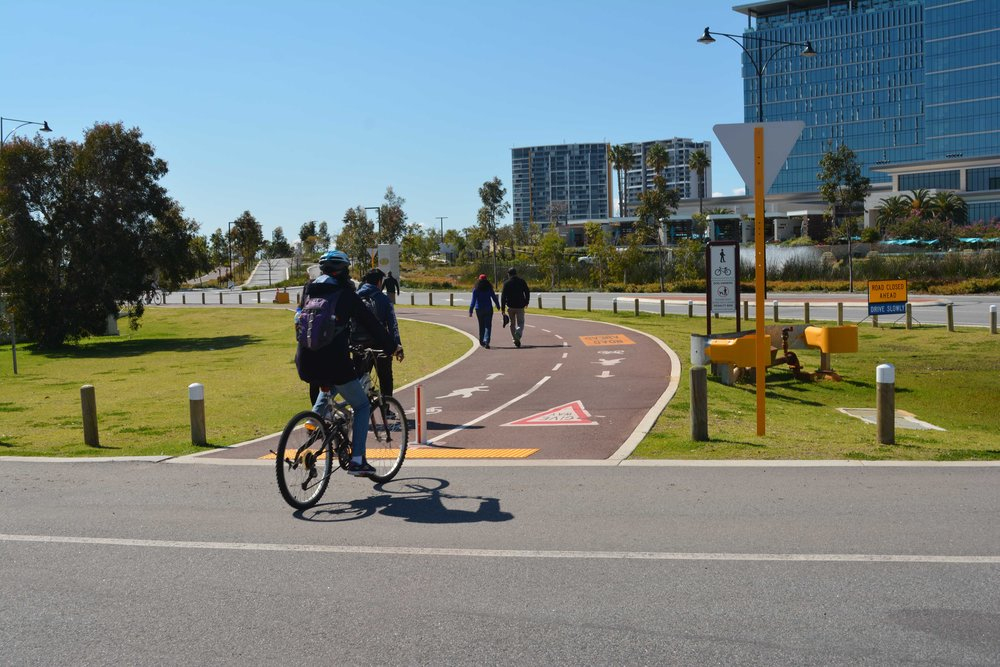 Cycling - We encourage cycling as a sustainable transport mode and can assist with bicycle network planning, WABN funding applications, bike plans, safe active streets, shared path design and provision of bicycle parking and end of trip facilities