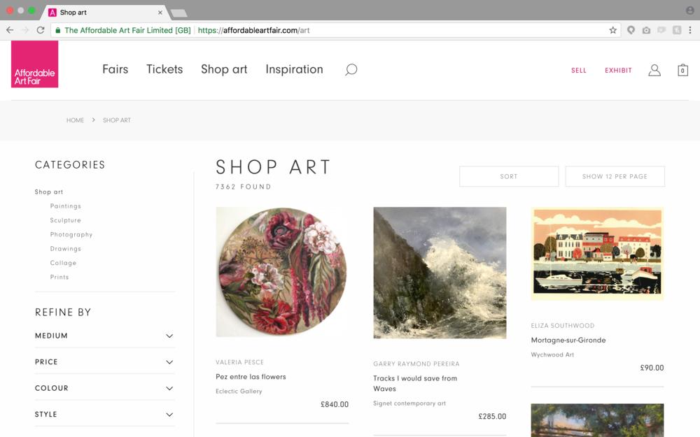 Gallery ecommerce website
