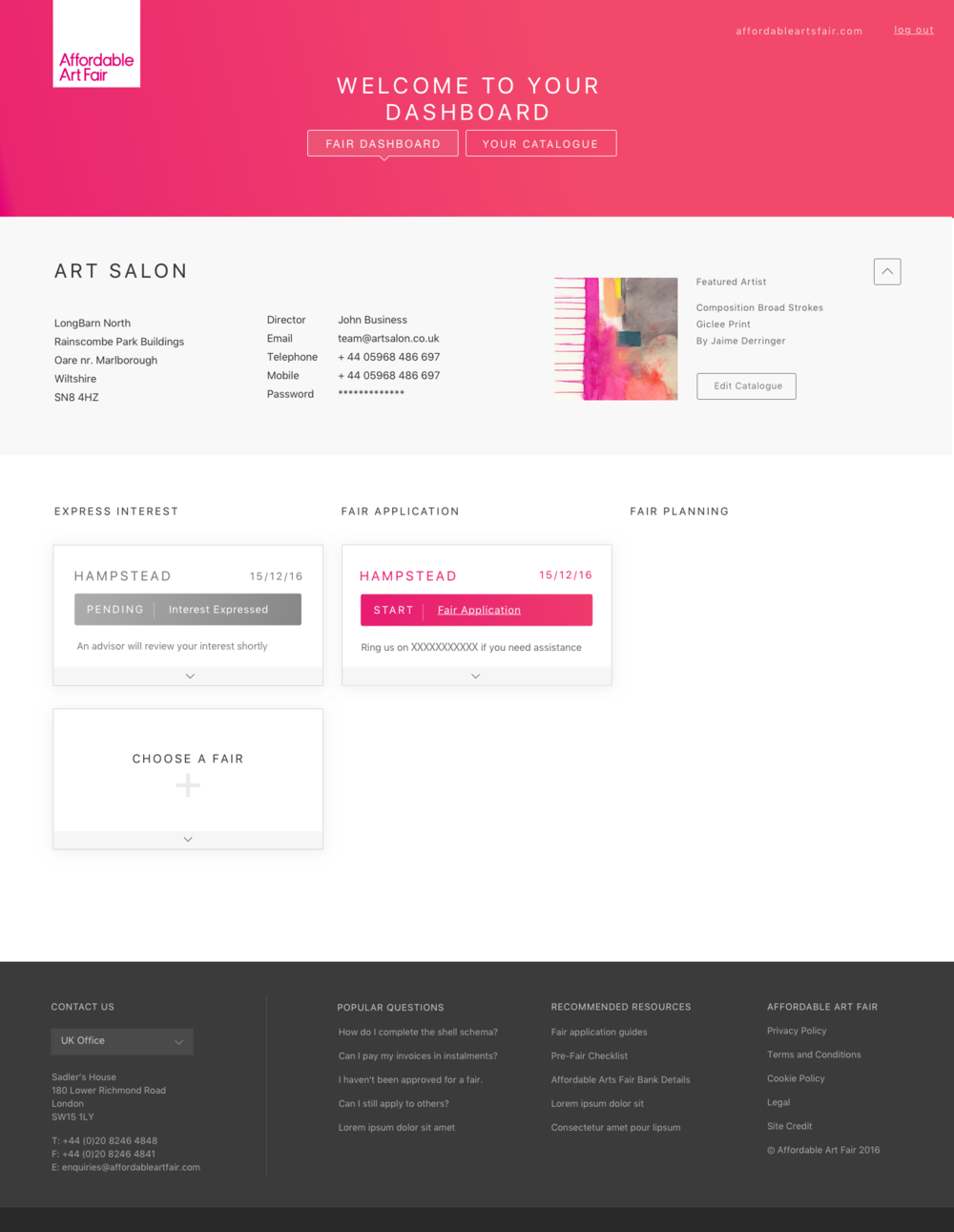 Wireframes for the user portal