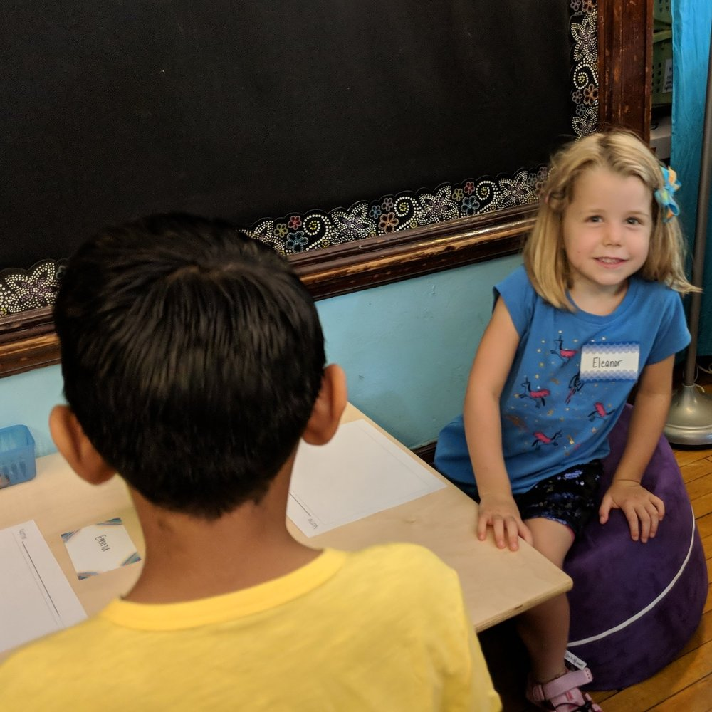 Students spend time getting to know each other during the first few weeks of kindergarten. Our looping program for kindergarten and first grade ensures students remain with their classmates and teachers for their first two years, building strong relationships.