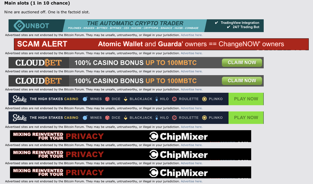 Image 3: Nine spots auctioned off to ad slot advertisers on Bitcointalk as of October 29, 2018