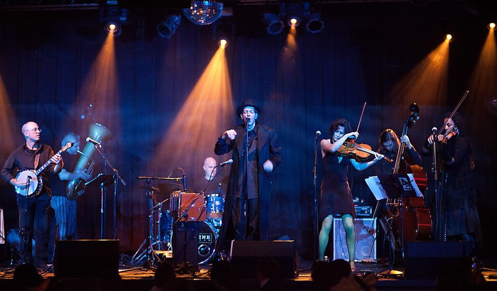 Beat Circus in 2011 at Highline Ballroom, NYC (L-R, Andrew Stern, Ron Caswell, Gavin McCarthy, Brian Carpenter, Jordan Voelker, Paul Dilley, Mazz Swift)