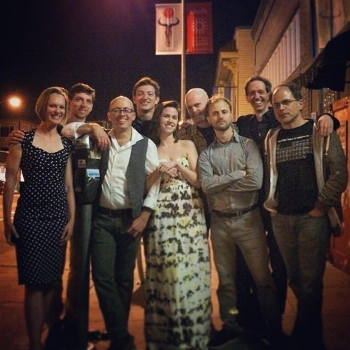 Beat Circus at Amnesia, San Francisco CA in 2014 (L-R): Serena Eades, Paul Dilley, Andrew Stern, Quinn Carson, Emily Bookwalter, Gavin McCarthy, Alec Spiegelman, Brian Carpenter, Dominic Orlando