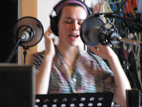 "Larkin Grimm recording vocals at Trout Recording on ""Saturn Song"",  Boy From Black Mountain  2009"