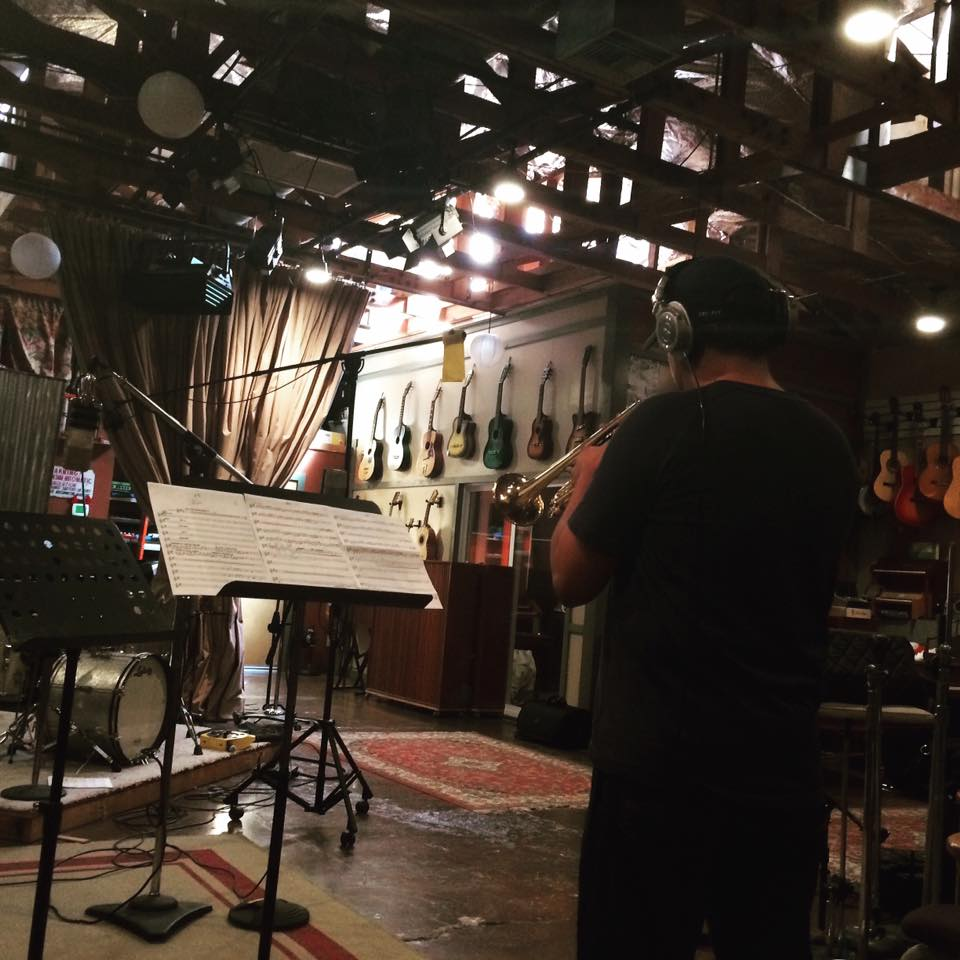 "Jacob Valenzuela of Calexico playing trumpet on ""Rosita"" at Wavelab Studios in Tucson AZ 2016"
