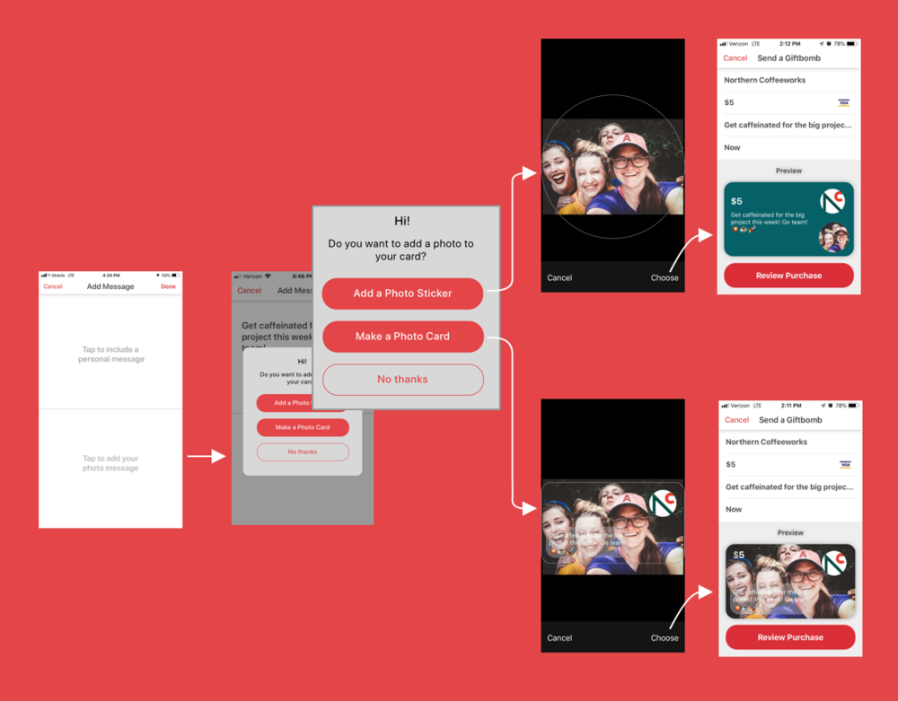 """Wireframes show 2 possible flows for personalizing a Giftbomb """"card"""" with a photo"""