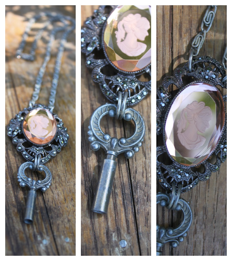 Glass Cameo Necklace Collage