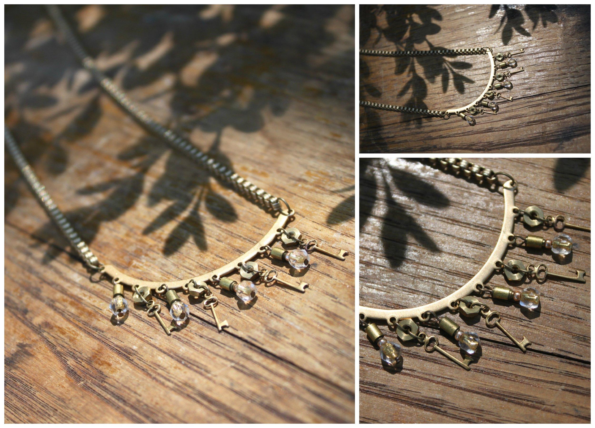 Steampunk Golden Key Necklace Collage