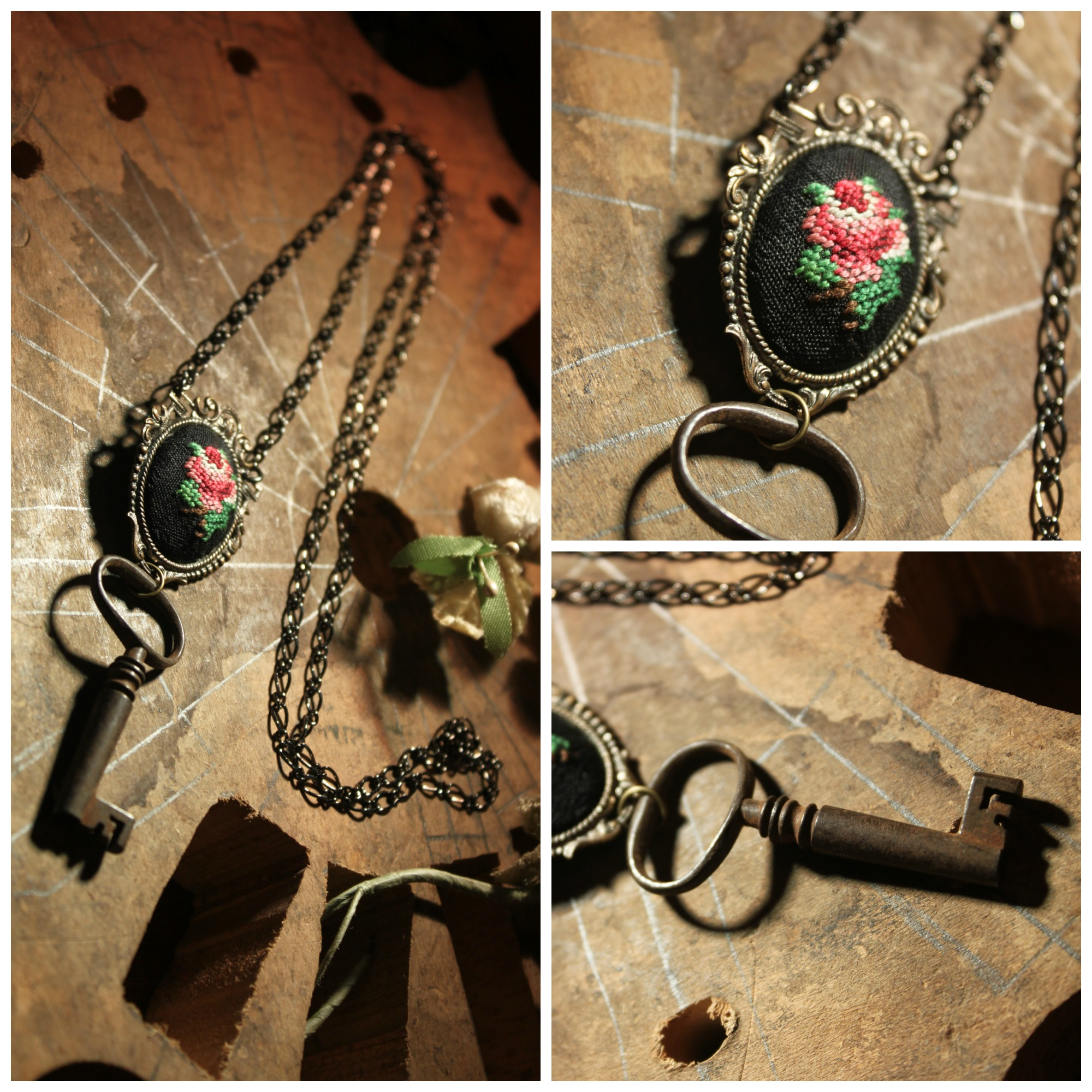 Embroidered Rose Necklace Collage
