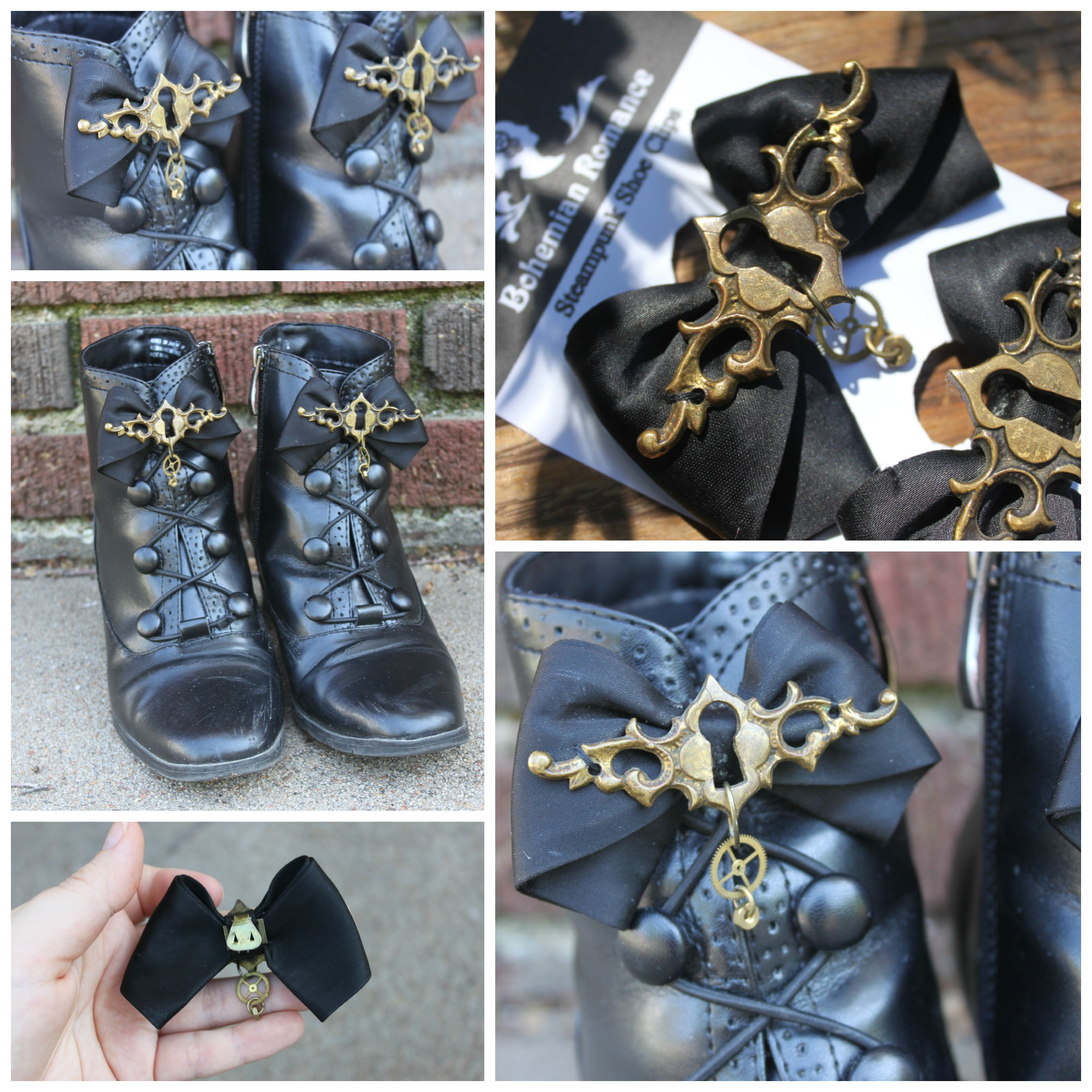 Steampunk Bow Shoe Clips Collage