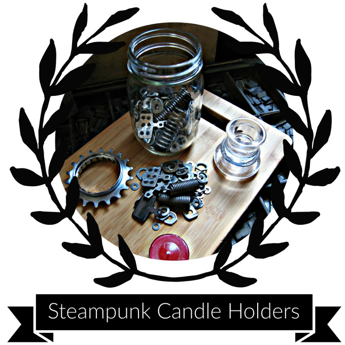 Supplies & Tools - Mason jarMedium sized bicycle gear (from a cassette)Glass candlestick holderCandlestickVarious odds & ends of your choosing to place inside your jar (I used washers, springs, bicycle brakes, clock parts & gears.)