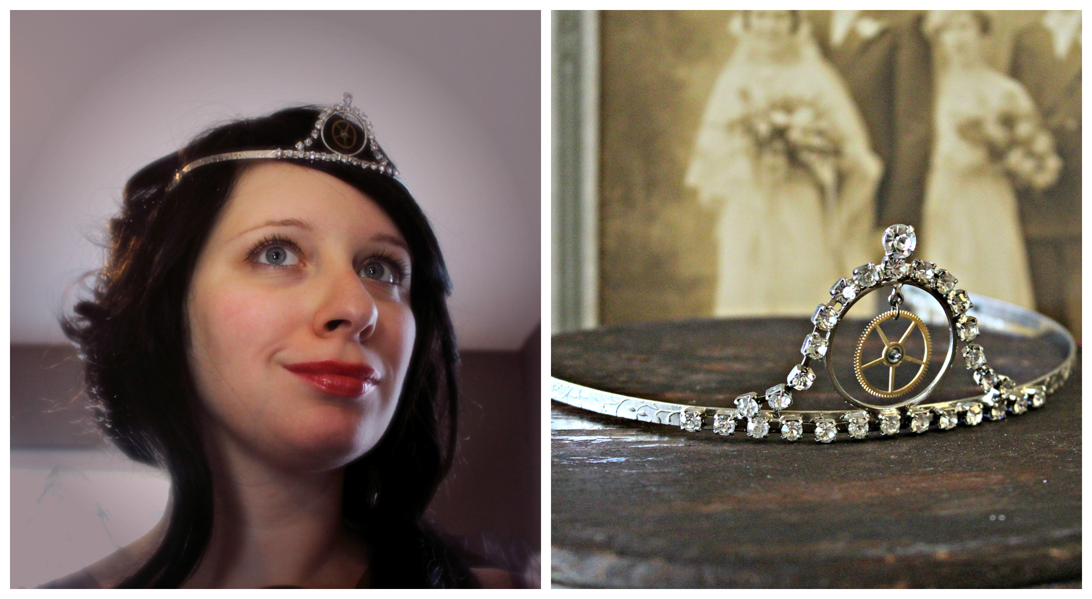 Steampunk Peaked Gear Tiara Collage