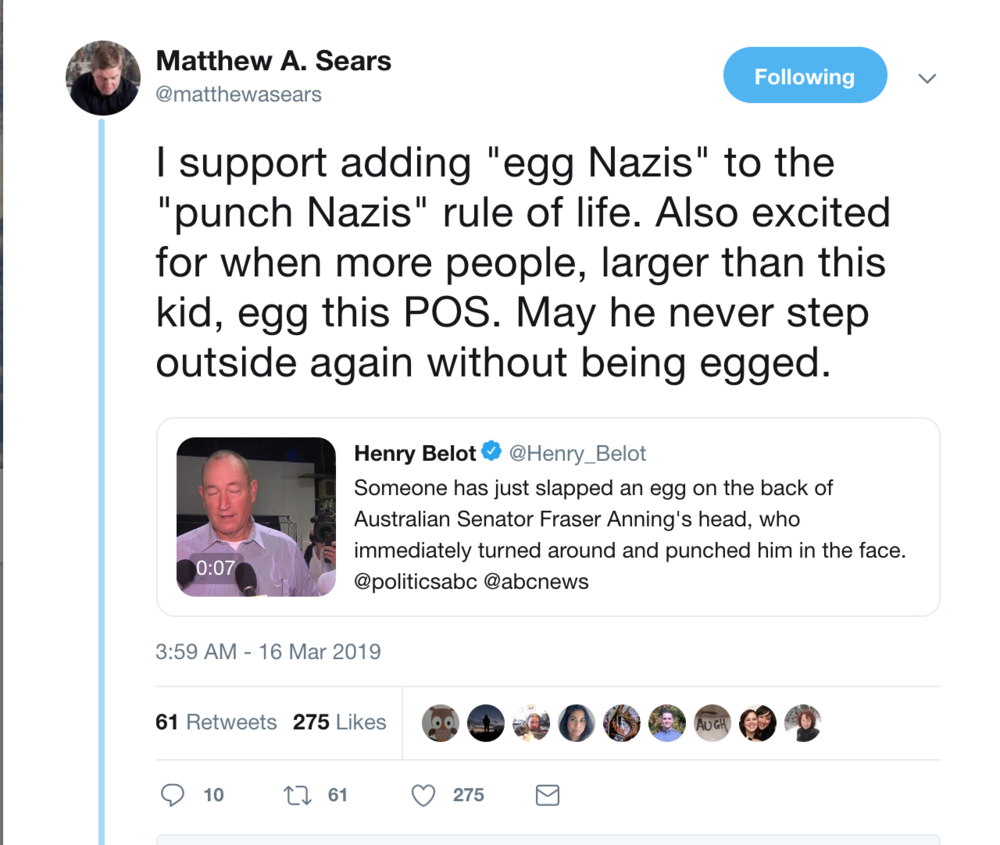 Dr. Mathew Sears of the University of New Brunswick, declaring his support for political violence.