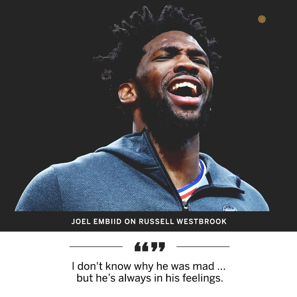 Russ definitely needs to learn the art of meditation and just chill out! Or Do you think Embiid was being sneaky?