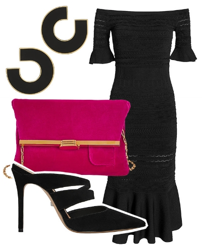 3. Pop of color - Add a brightly-hued accessory for a subtle statement that allows chic black to shine.