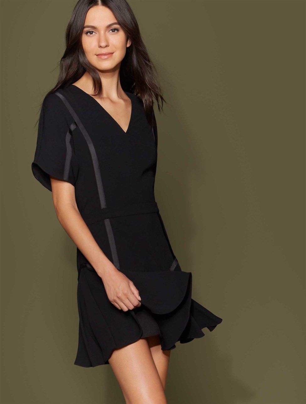 Halston Heritage Short Sleeve Tape Detail Flounce Dress, $345