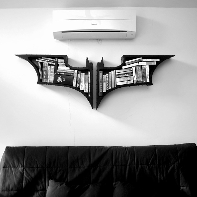 laughingsquid :      Batman Symbol Bookshelves, Inspired by 'The Dark Knight' Trilogy      The Creativity superpower: Connecting things in new ways.