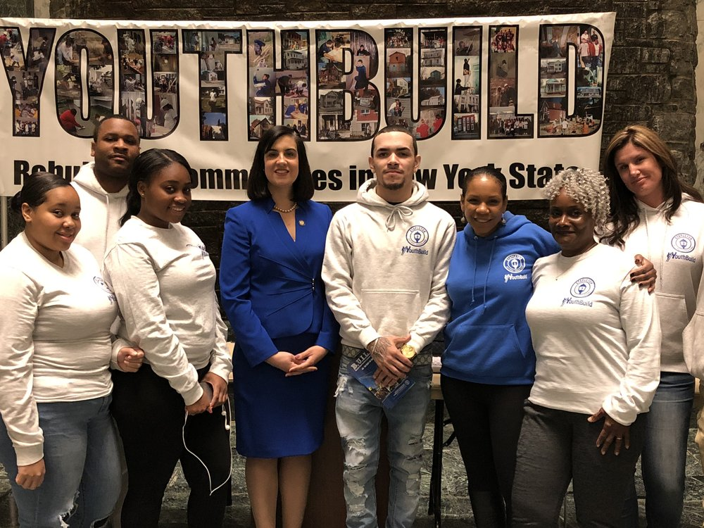YouthB.U.I.L.D. Staten Island Youth Council in the New York State Legislative Building in Albany with Staten Island Assembly Woman Nicole Malliotakis and YBSI staff.