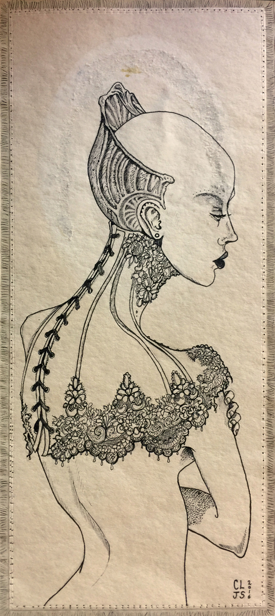 ink drawing on antique envelope/photo wallet