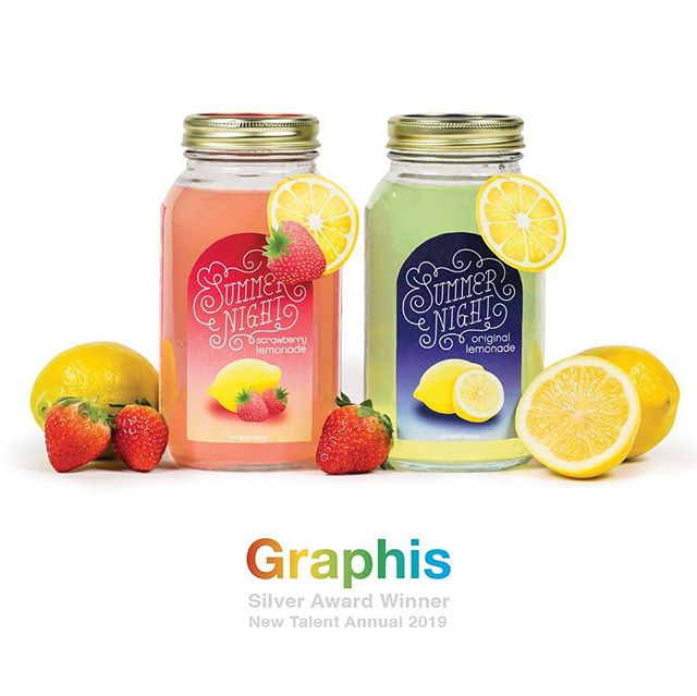 So thrilled to announce that my Summer Night Lemonade package design was awarded Silver, and will be presented in the Graphis New Talent Annual 2019! • • • #design #graphicdesign #packaging #packagedesign #lemonade #summer #summernight #beverage #beveragepackaging #lightningbugs #graphis #graphics #newtalent #art #artdirection #illustration #handtype #type #typography #KUCD #gobears #thanksforstoppingby