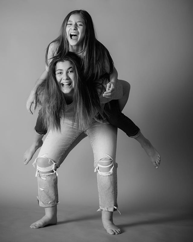 Sisters  #laugh #sisters #love #photoshoot #funny #family #nikon #photographystudio #ymm #kidsofinstagram #fortmcmurray #50mm #christmas #jean #grey