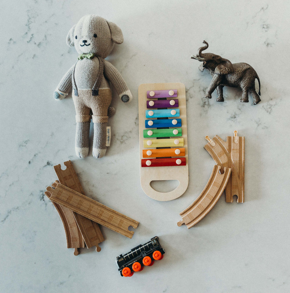 noah the dog from cuddle and kind, schleich elephant, thomas and friends track and hiro engine, hape xylophone