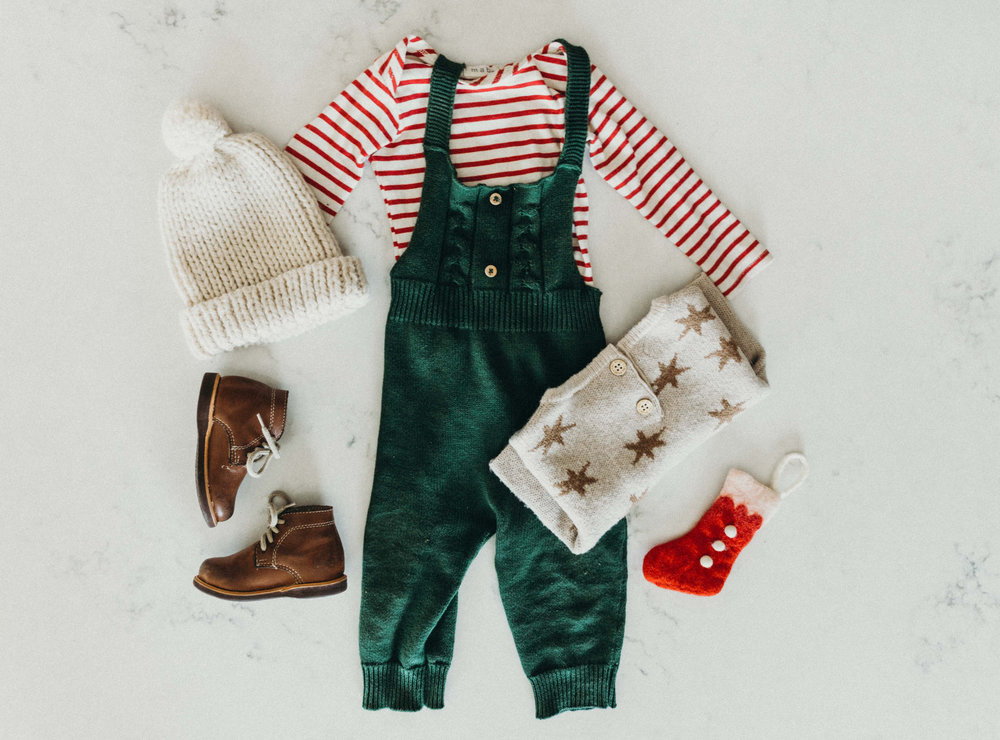 James' Christmas Day outfit: stripe lap shirt by mabo kids, overalls by Fin & Vince, Star sweater by rylee & cru, milo boots By The Humble Soles (use code cathlins10 for 10% off your Humble soles order)