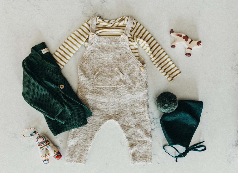 Ayrton's cozy Christmas Day outfit: Pine Fin & Vince kimono cardigan, Mabo Kids organic cotton lap striped natural/chartreuse, Zara knit overalls, Briar Handmade Juniper pom
