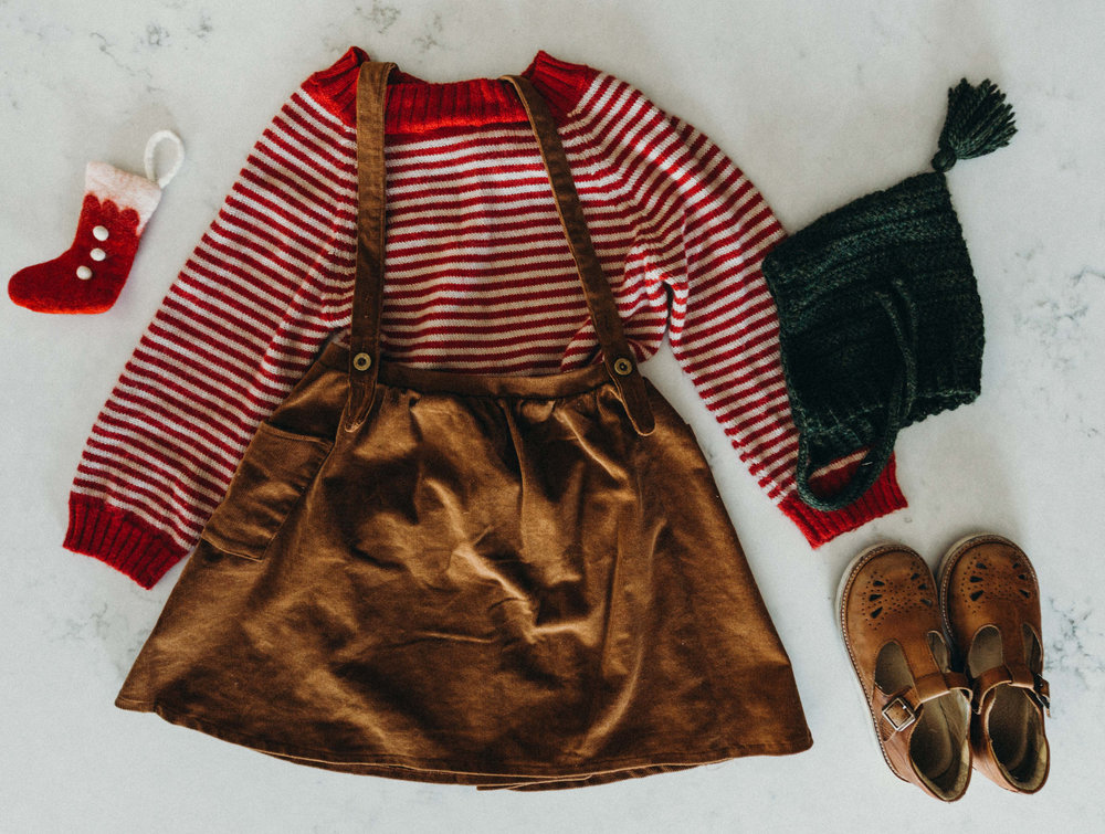 …and Ellie wore on Christmas Day on Christmas Day on Christmas Day… more red :D Fin & Vince red alpaca stripe sweater, Fin & Vince hazelnut suspender skirt, tassel hat handmade by Knittybutton/Ali Tong, Young Soles London t-bars,