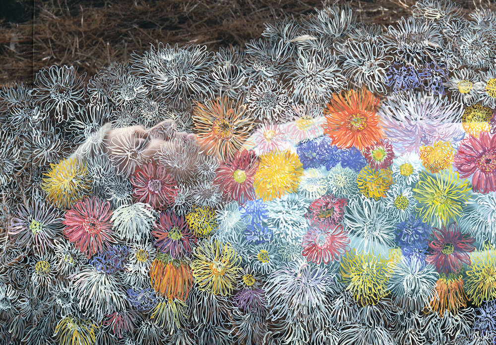 "Burying my Mom (detail) Gouache on Digital Print, 80.5"" x 116"", 2014"