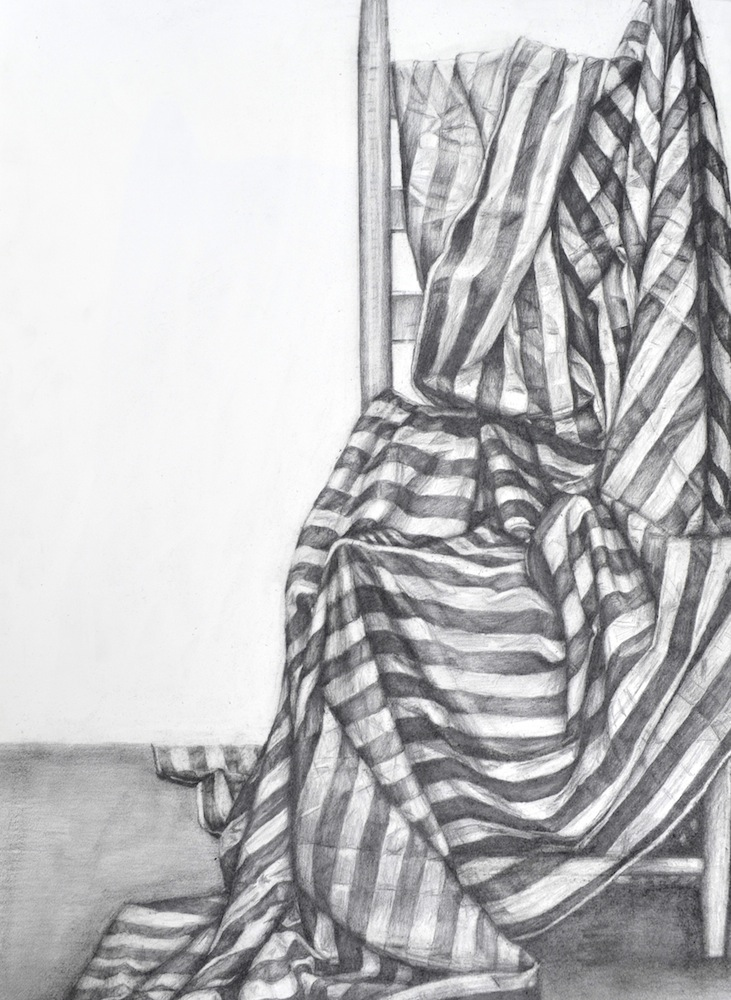 "Perceptual Drawing – Striped Fabric Value Drawing, Graphite, 30"" x 22"""