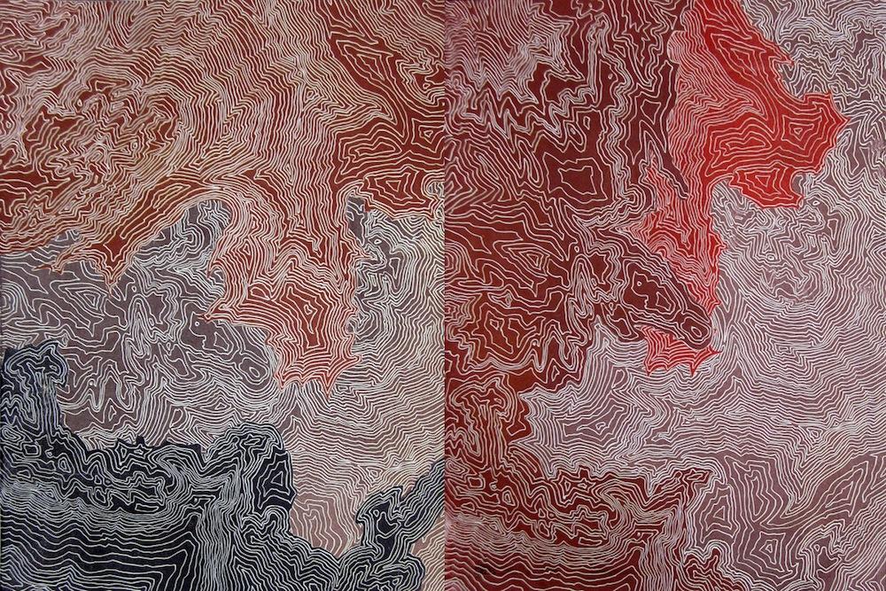 "Printmaking Figure/Ground– Final Project, collaged linoleum prints, 18"" x 48"""