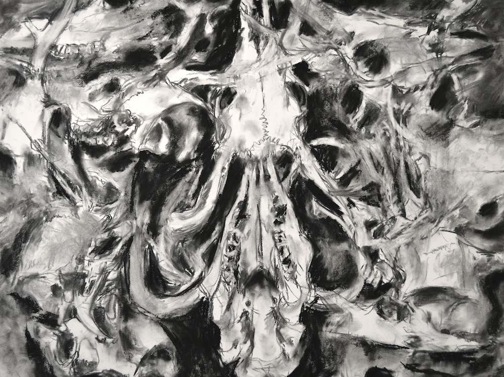 """Drawing Movement & Motion – Rotating Object Drawing, Charcoal, 22"""" x 30"""""""