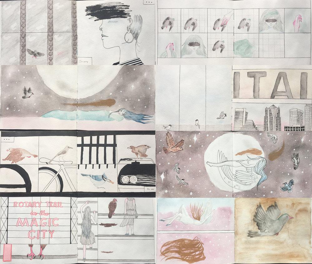 "Creativity and Imagination - Comic Project, watercolor, mixed media, 8.5"" x 16.5"""