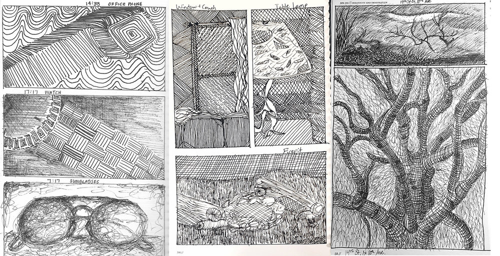 """Creativity and Imagination - Field Line Drawings, ink, 8.5"""" x 11"""""""