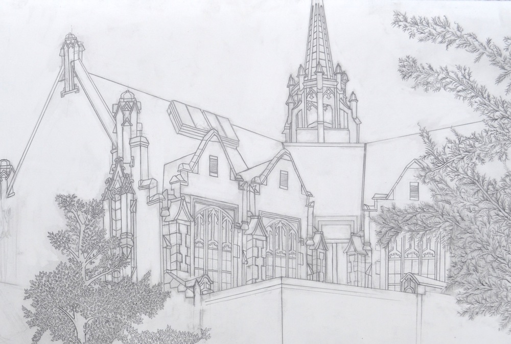 """Perceptual Drawing – Perspective Drawing, Graphite, 22"""" x 30"""""""
