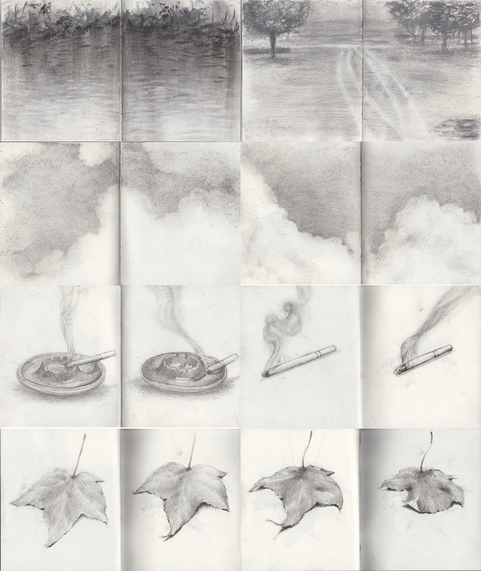 "Drawing Movement & Motion ART2374 – Movement Sketchbook Assignment, Graphite, each page is 7.5"" x 5.5"", 2013"
