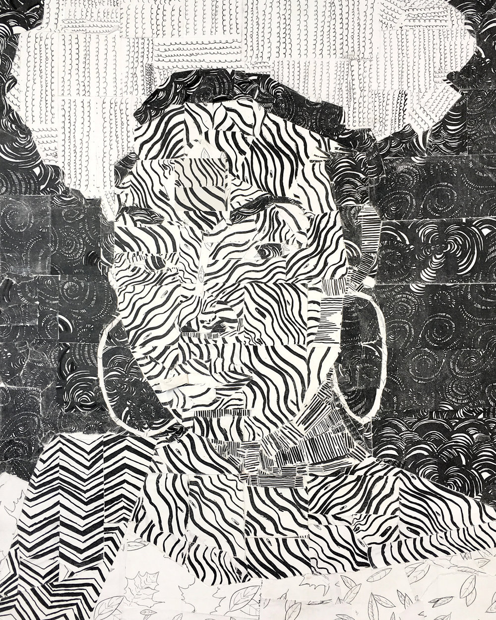 "Drawing 1 ART1620 – Mark Making Self-Portrait Collage, xeroxed copies of drawings, 25"" x 18"" 2018"
