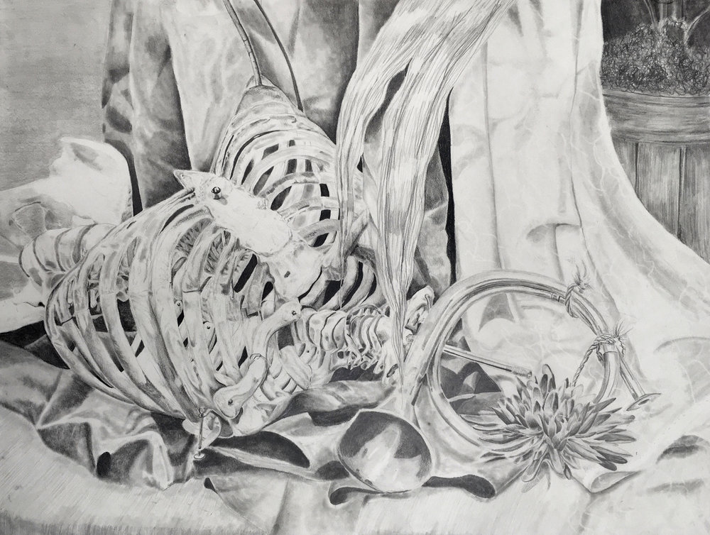 """Drawing 1 ART1620 – Value Drawing, graphite, 18"""" x 24"""", 2018"""