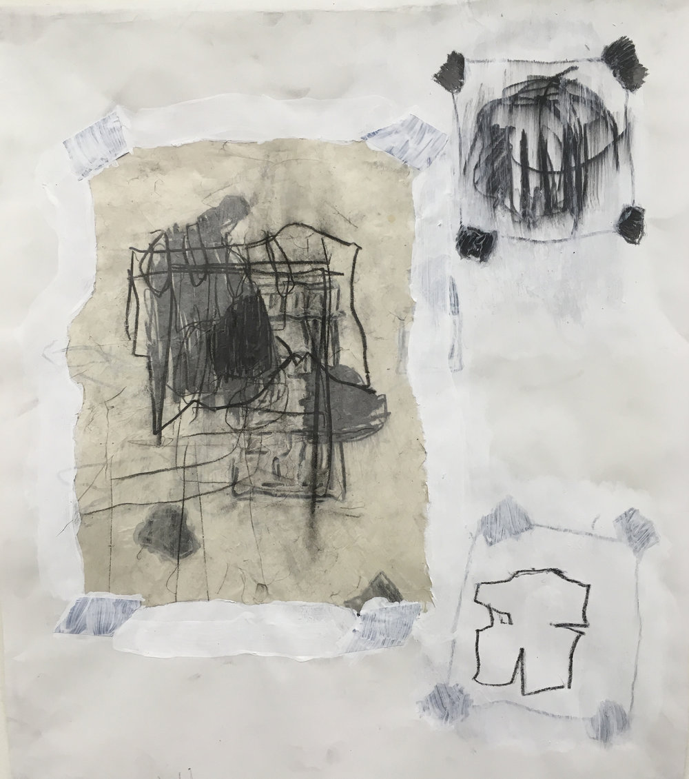 "Experimental Drawing and Sketchbook Development, collage, charcoal, gesso, tape, 22"" x 30"", 2018"