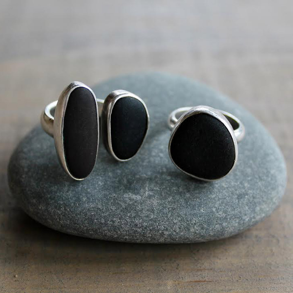 Ring, Lake Superior Basalt stones from Knife River, MN, Sterling Silver