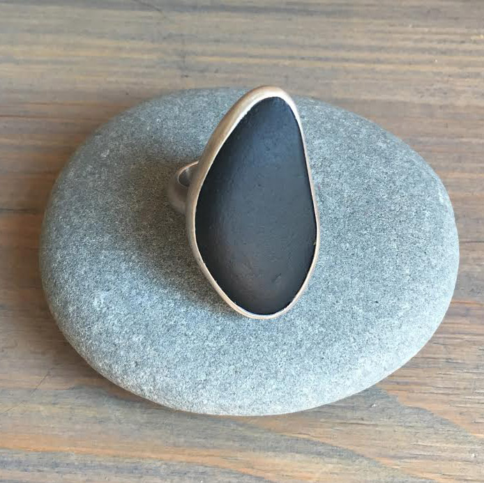 Ring, Lake Superior Basalt Stone from Madeline Island, WI, Sterling Silver