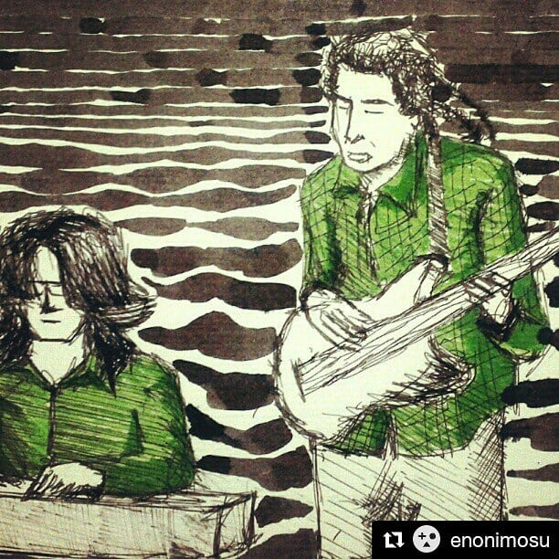 #throwback to November 2012, improvising with Mishko M'ba at @plantationhouseindia #muchlatergram  repost, thanks @enonimosu for this. ・・・ Mishko M'ba and Aman Mahajan at The. Plantation House #mishkomba #amanmahajan #plantationhouse #bangalore #music #illustration