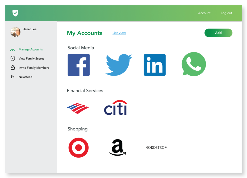 Manage all your accounts and passwords by categories (social media, financial services, shopping, etc.)