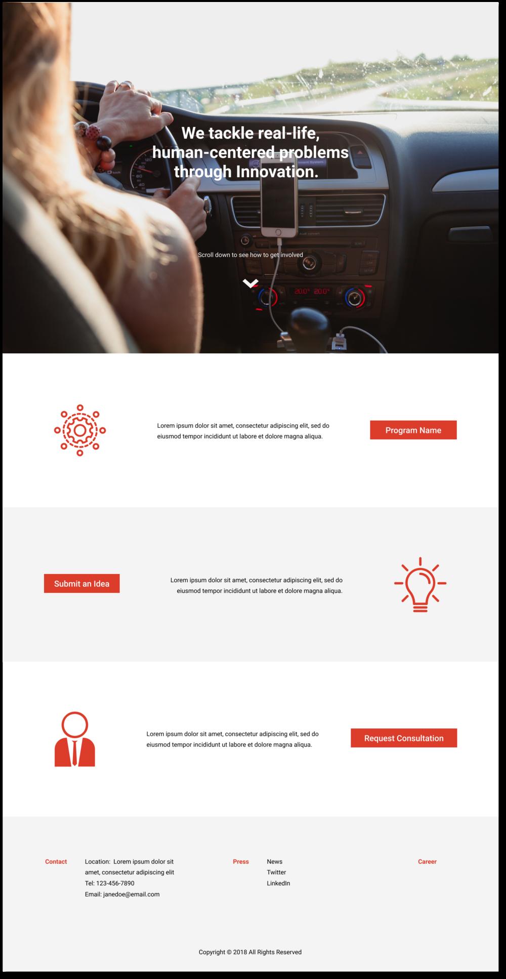 Med/Hi Fi Landing page mockup, icon credits:  nounproject