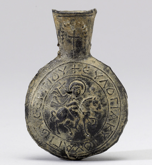 6th century pilgrim ampulla from the shrine of St Sergios in Syria. Wikimedia Commons, image courtesy of Walters Art Museum