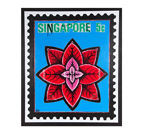 Singapore flower - red / blue