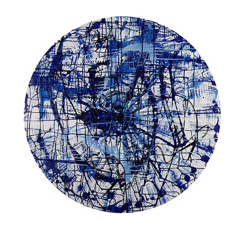 Circular graffiti – blue